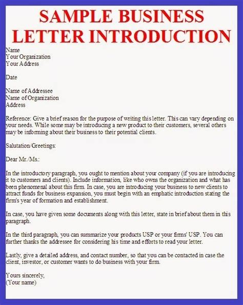 Introduction Letter In Business Small Business Introduction Letter The Letter Sle