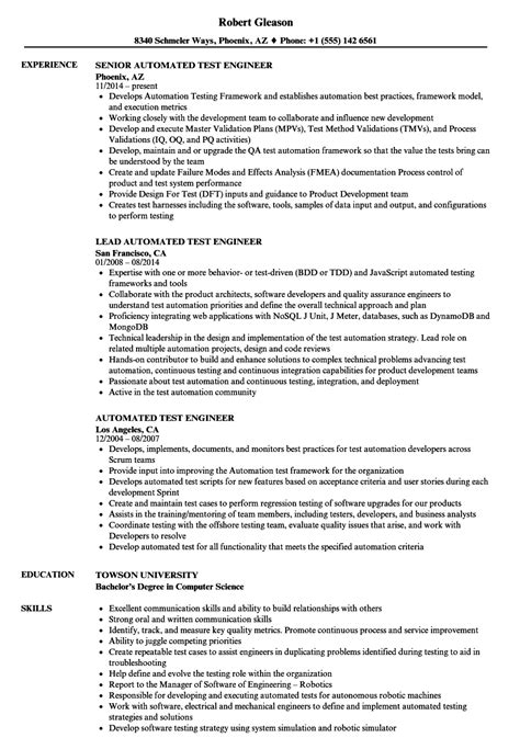 sle resume for experienced automation test engineer automated test engineer resume sles velvet
