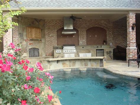 backyard pool bar kitchen w swim up bar by southern land design in dallas