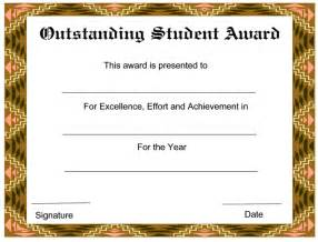 Free Award Certificate Templates For Students by Outstanding Student Award Certificate