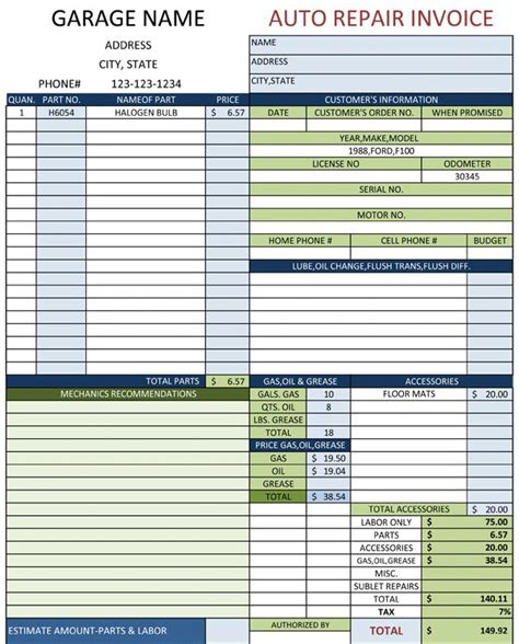 auto repair invoice template excel auto repair template free printable documents