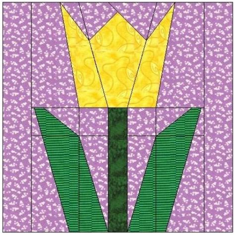 Tulip Quilt Pattern Block by All Stitches Tulip Paper Peicing Quilt Block Pattern