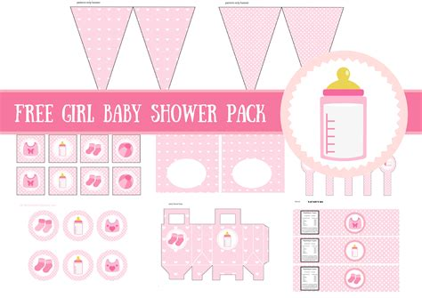 free girl baby shower printable template baby shower