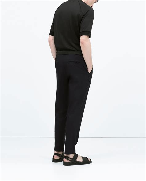 zara trousers with elastic waistband zara blue striped trousers and elastic waist striped trousers and elastic waist for lyst