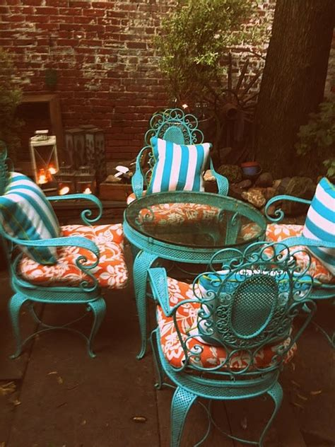 turquoise and orange patio furniture spray paint wrought iron metal set rugged