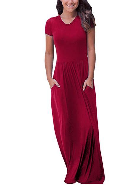 loose long maxi dress casual plain  neck short