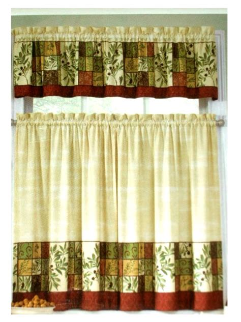 tuscan olives herbs kitchen curtains set