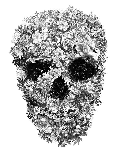 Flower Skull floral skull original artwork jacky tsai