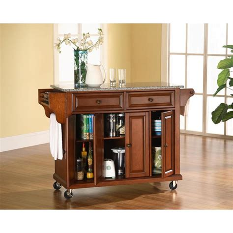 home depot kitchen islands crosley cherry kitchen cart with granite top kf30003ech the home depot