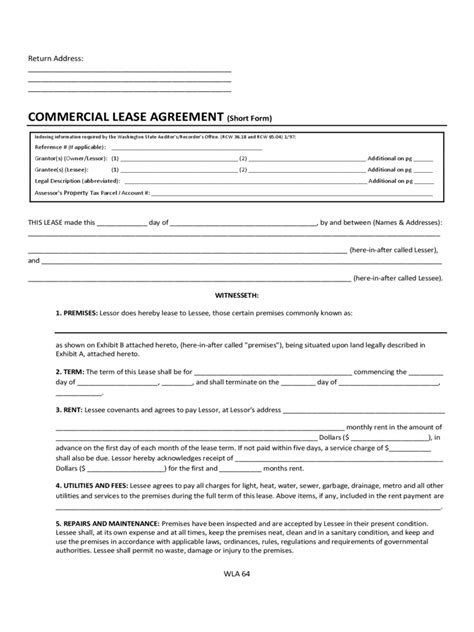 commercial rental agreement form 20 free templates in