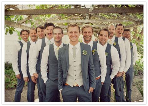Wedding Attire No Jacket by Groomsmen All In Grey Where Groom Still Stands Out