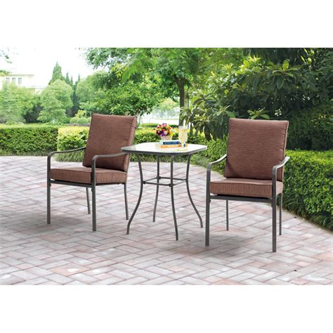 Design For Mainstays Patio Furniture Ideas Furniture Mainstays Crossman 3 Outdoor Bistro Set With Small Green Garden Design Also