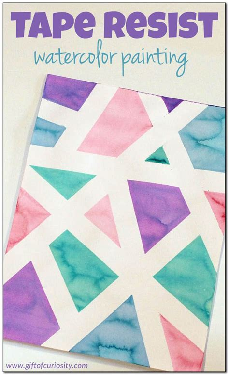 art projects tape resist watercolor painting fun art projects