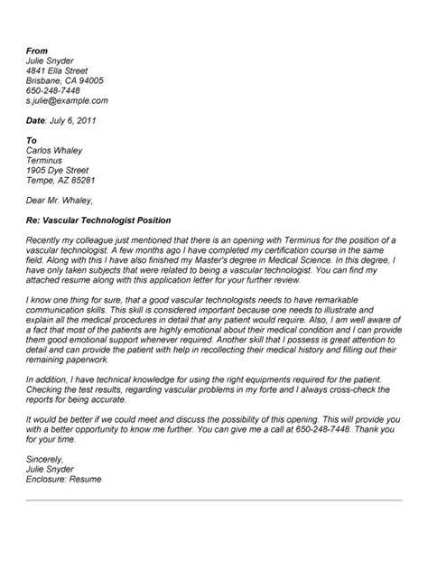 radiography cover letter resume exles templates technologist cover