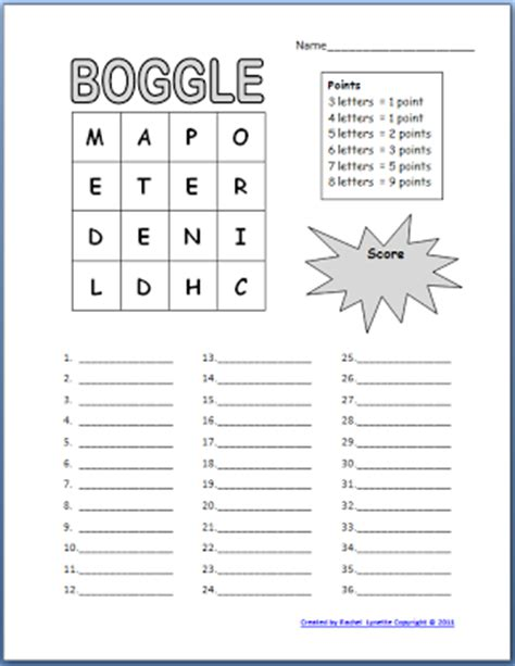Boggle Printable Template free boggle templates for your classroom minds in bloom