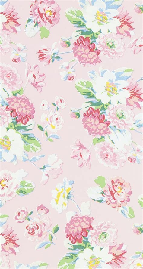 cute pattern lock vintage pink white yellow blue floral iphone wallpaper