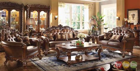 Vendome Traditional Brown 4pc Formal Living Room Set Sofa Formal Living Room Furniture Sets