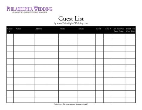 free wedding guest list template excel 6 best images of wedding guest list printable wedding