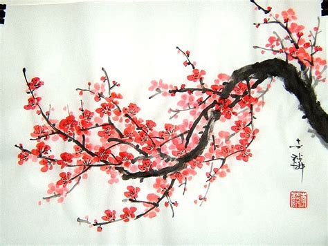 japan painting show the cherry blossom is a well known symbol of