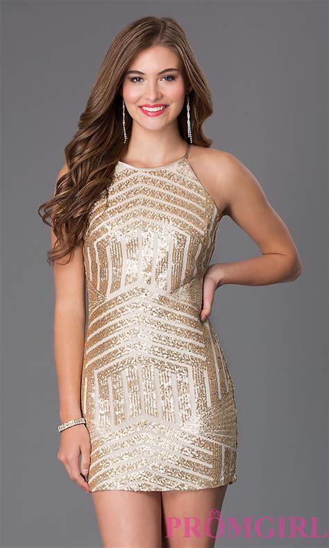 Dress Gold gold high neck sequinned dresses promgirl