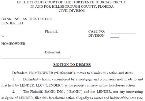 motion to dismiss template florida attorney forms leases contracts notices