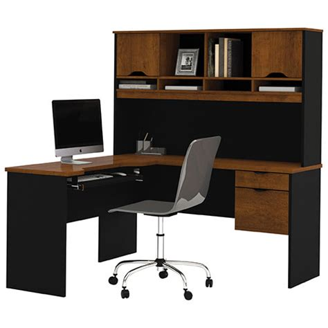 Corner Desk Brown Innova Corner Desk With Hutch Tuscany Brown Black Desks Workstations Best Buy Canada