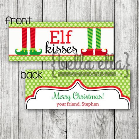 printable elf kisses bag toppers elves bags and kiss on pinterest
