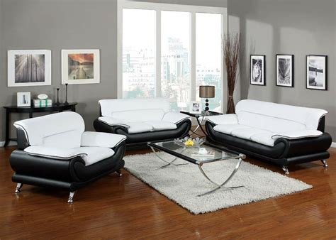 White Leather Living Room Chair - orel white and black bonded leather sofa set living room