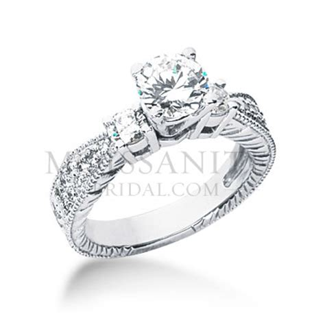 antique brilliant moissanite engagement ring