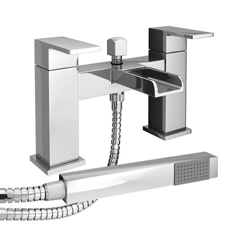 Bathroom Taps With Shower Plaza Waterfall Bath Shower Mixer With Shower Kit Chrome At Plumbing Uk
