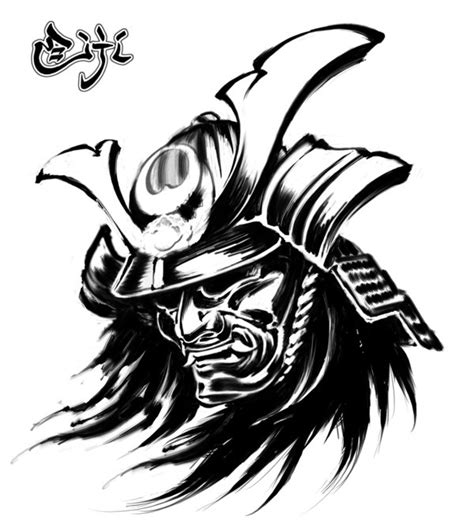 wonderful black ink samurai head tattoo design