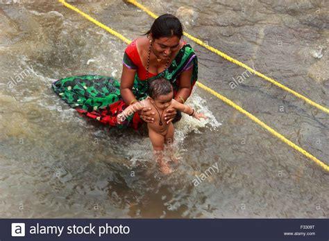 Baby Bathtub India by Nashik India 25th Sep 2015 Hindu Devotee Bathing