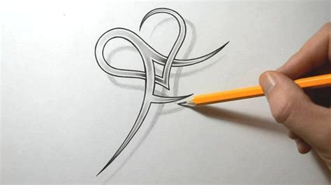 tattoo letters running together initial f and heart combined together letter tattoo