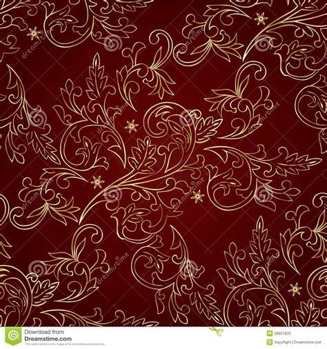 pattern vintage red red gold floral vintage seamless pattern stock vector
