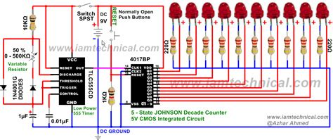 integrated circuit digital clock 555 timer clocks cmos 4017bp johnson decade counter with variable resistance 0 500kω at 50