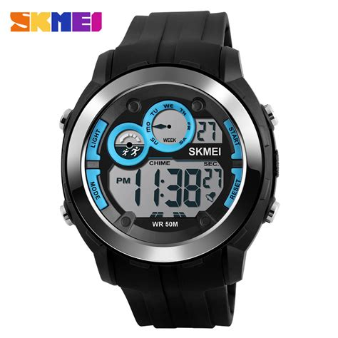 Jam Tangan Sporty Led Murah skmei jam tangan digital sporty pria dg1234 blue