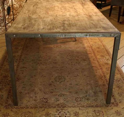 Custom made urban dining table reclaimed wood top distressed metal legs by mortise amp tenon