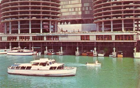 on city boat postcard chicago marina city chicago river boats