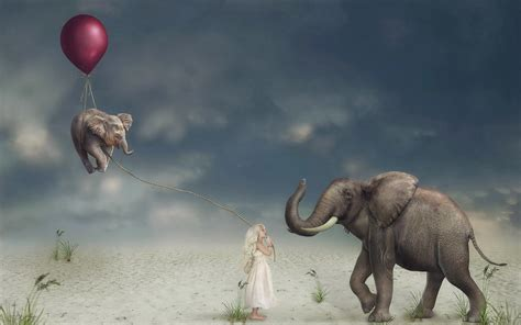 abstract elephant wallpaper children artwork balloon elephant animals surreal hd