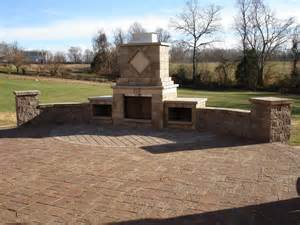Paver Patio With Retaining Wall Freestanding Custom Retaining Wall Paver Patio And Fireplace In Wildwood Mo Lance S Landscaping