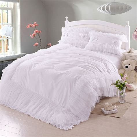 ruffle comforter set queen luxury white lace falbala ruffle bedding set queen size