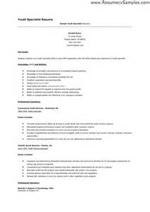 Sle Resume Child Care Worker by Youth Worker Resume Exle