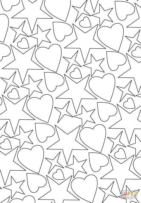 hearts and stars pattern coloring page free printable