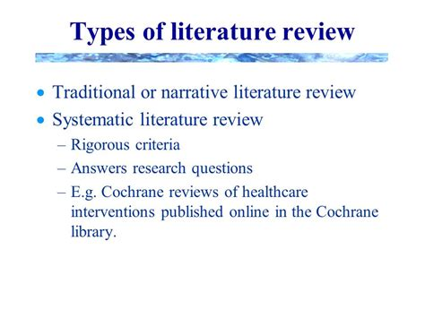 4 Types Of Literature Reviews advanced research skills in psychotherapy 1 ns604 doing your literature review structure and