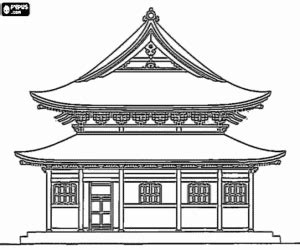 japanese temple coloring page monuments and other sights in asia coloring pages