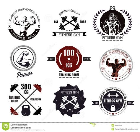 Fitness World Logo 9 bodybuilding and fitness logos and emblems stock