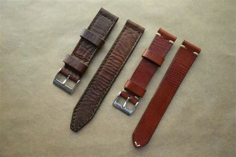 Handmade Leather Straps - various 20mm handmade leather straps and leather nato