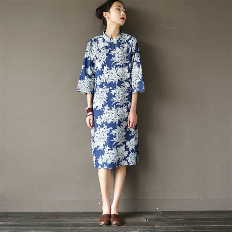 Blue Flower Retro Cheongsam Dress Vintage Import Fashion Wanita Korea style flower print denim knee length dress