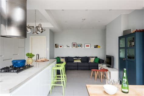 modern kitchen design in loft extension london by belsize contemporary loft and kitchen extension in south east