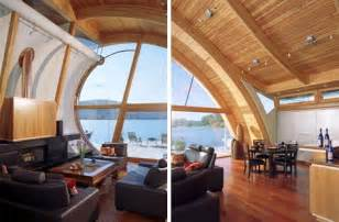 Wood Home Interiors by Organic Wood Wave Floating Home Design